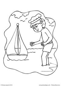 Boy and boat - Colouring page