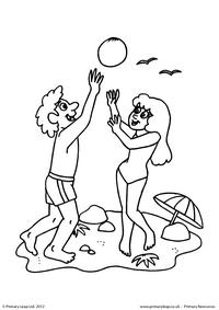 Fun at the beach - Colouring page