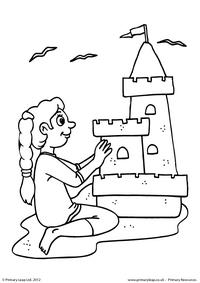 Building a sandcastle - Colouring page