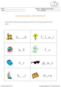 Summer vocabulary - Missing vowels