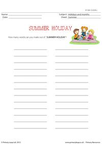 How many words - Summer holiday