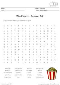 Summer Fair - Word Search