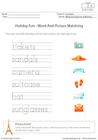 Holiday Fun - Word And Picture Matching