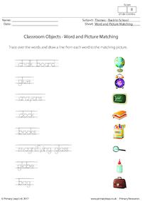 Classroom Objects - Word and Picture Matching