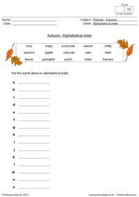 Autumn - Alphabetical order