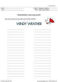 Autumn word unscramble - Windy weather