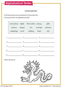 Alphabetical order - Chinese New Year