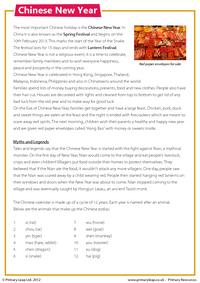 Reading comprehension - Chinese New Year