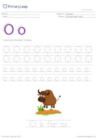 Alphabet tracing - O is for ox