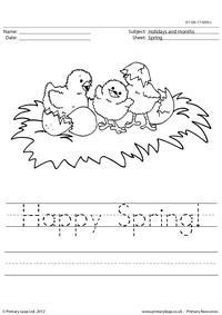 Handwriting worksheet - Happy Spring!