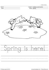 Handwriting worksheet - Spring is here!