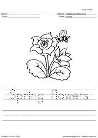 Handwriting worksheet - Spring flowers