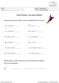 Winter Olympics - How many syllables?