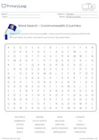Word Search - Commonwealth Countries