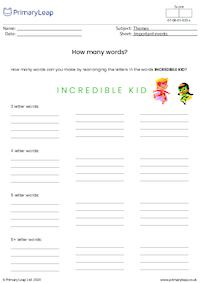 Absolutely Incredible Kid Day - How many words?