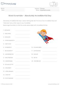 Absolutely Incredible Kid Day - Word Scramble