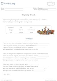 Rhyming Words - At The Zoo