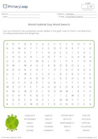 World Habitat Day word search