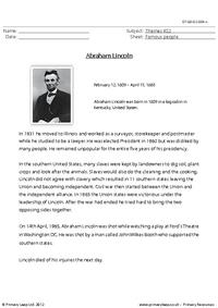Abraham Lincoln - Comprehension