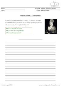 Research topic - Elizabeth Fry