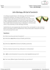 John Montagu, 4th Earl of Sandwich - Reading comprehension