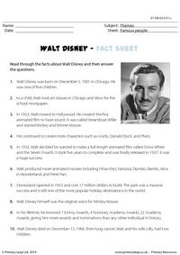 Reading comprehension - Walt Disney