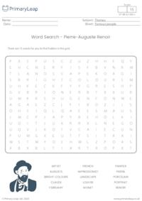 Word Search - Pierre-Auguste Renoir