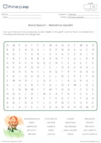 Mahatma Gandhi Word Search