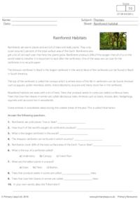 Reading Comprehension - Rainforest Habitats