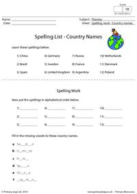 Spelling List - Country Names