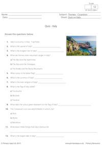 Quiz on Italy