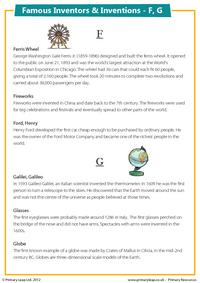 Famous Inventions & Inventors - F, G