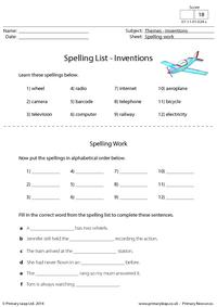 Spelling List - Inventions
