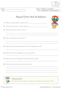 Report Form - Hot Air Balloon