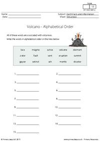 Alphabetical Order - Volcanoes