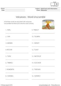 Word Unscramble - Volcanoes