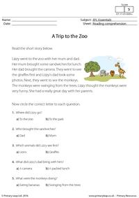 EFL Comprehension - A Trip to the Zoo