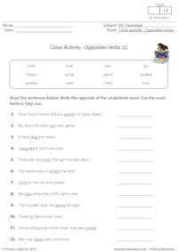 Cloze Activity - Opposites Verbs (2)